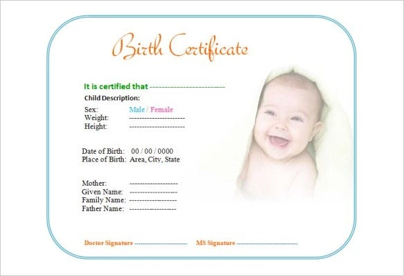 cute baby birth certificate template editable download