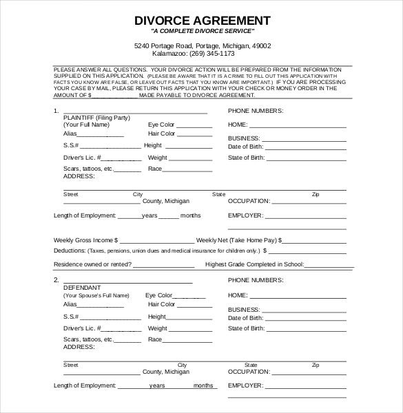 divorce agreement form template