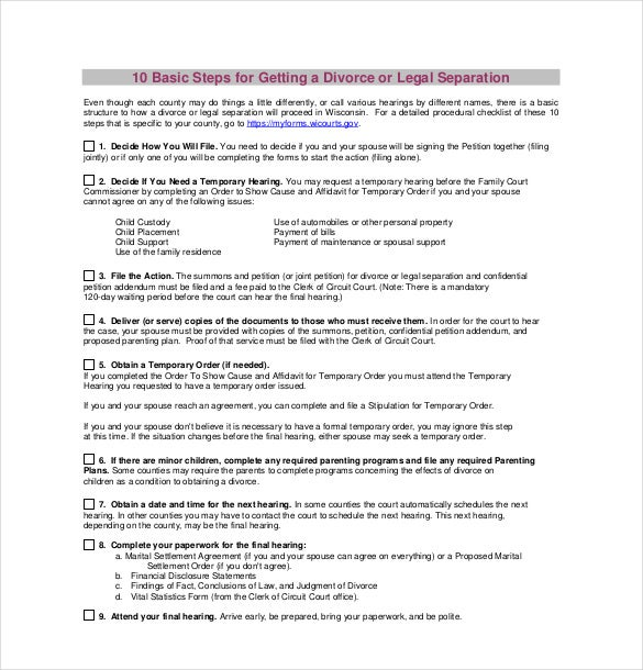 divorce agreement template pdf format