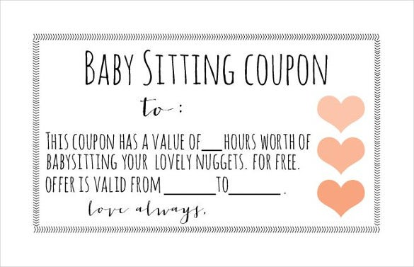 print ready baby sitting coupon template download
