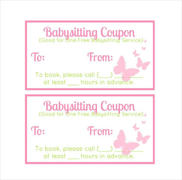 easy to edit baby sitting coupon template download