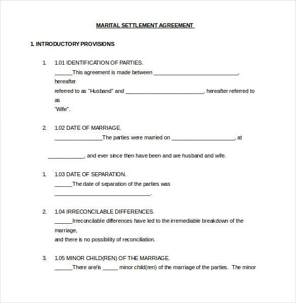 marital settlement agreeement template