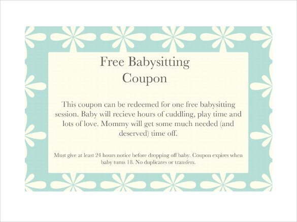 image about Babysitting Coupon Printable referred to as 11+ Youngster Sitting down Coupon Templates - PSD, AI, InDesign, Term
