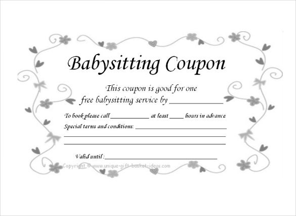 ready to print baby sitting coupon template download