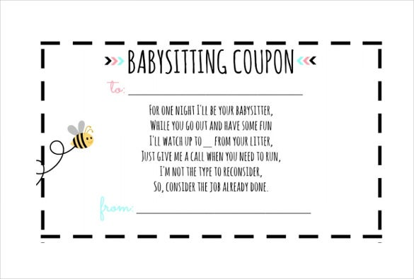 Baby Sitting Coupon Templates  Free Sample Example Format