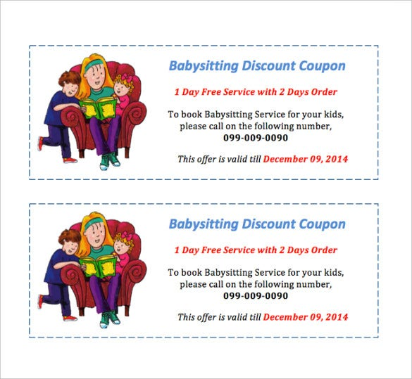 baby sitting coupon design template free download