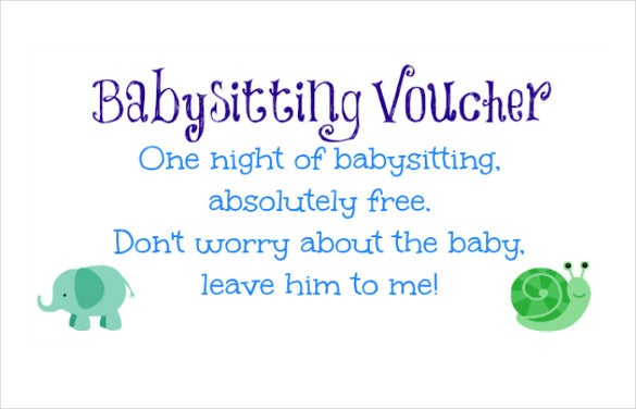 baby sitting coupon template instant download