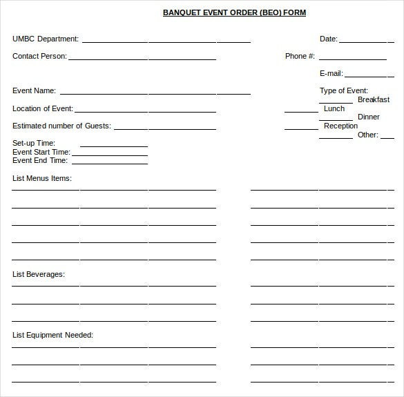 banquet event order document free download