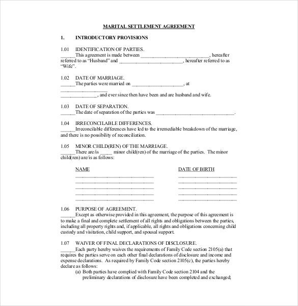 11 Divorce Agreement Templates – Free Sample Example