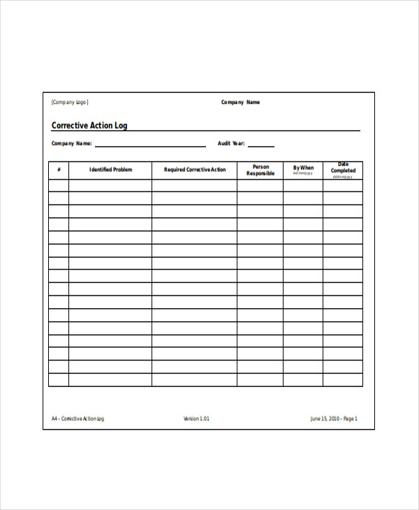 Corrective-Action-Log-Template