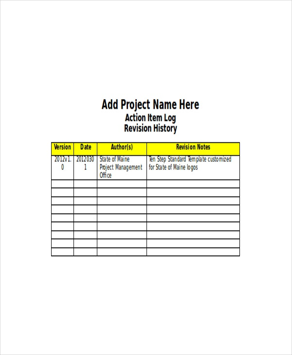 Project-Management-Action-Log-Template