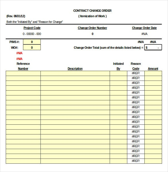 Construction Order Template   Free Excel Pdf Documents