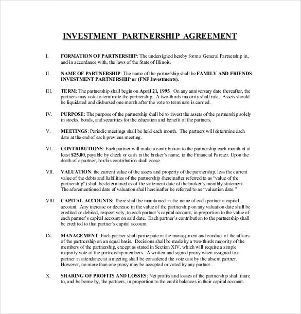 Example Investment Agreement Template Download
