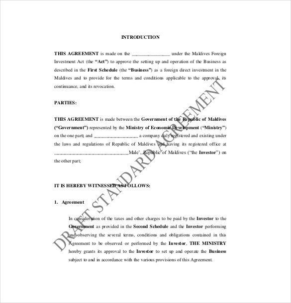 free sample investment agreement template