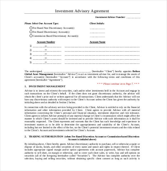Sample Investment Advisory Agreement Template Download  Investor Contract Template Free