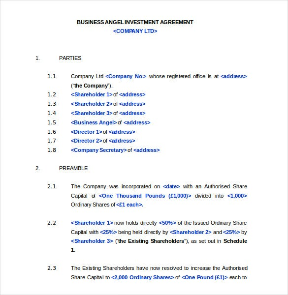 List Of Synonyms And Antonyms Of The Word Investors Agreement