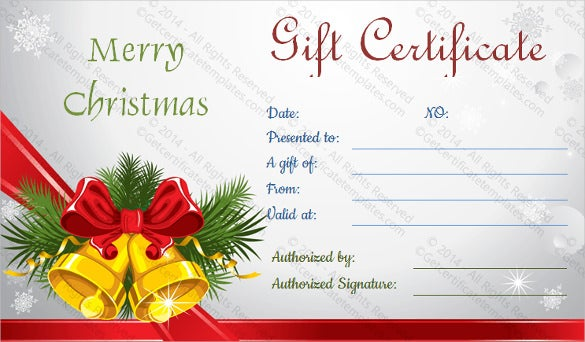 merry christmas holiday gift certificate