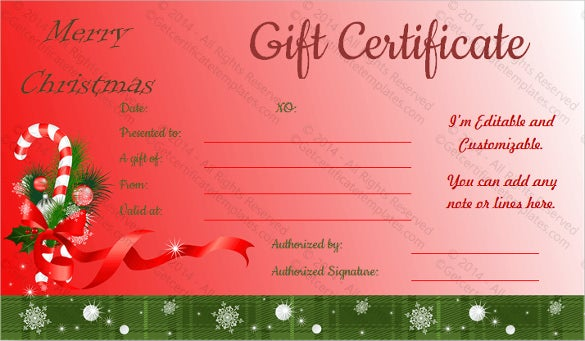 23 holiday gift certificate templates psd free for Holiday gift certificate template free printable