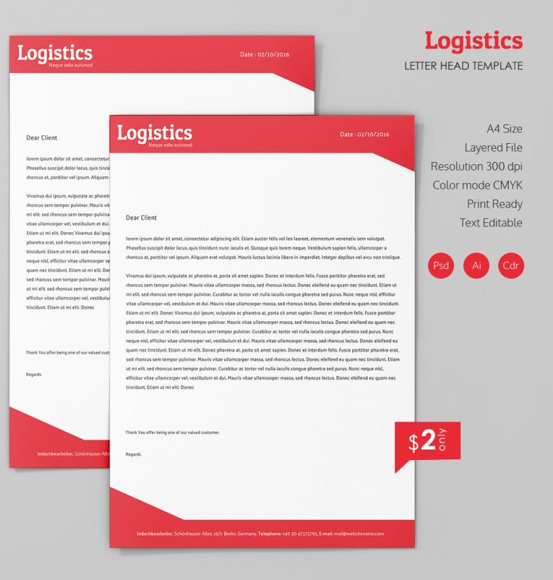 Simple Logistics A4 Letterhead Template