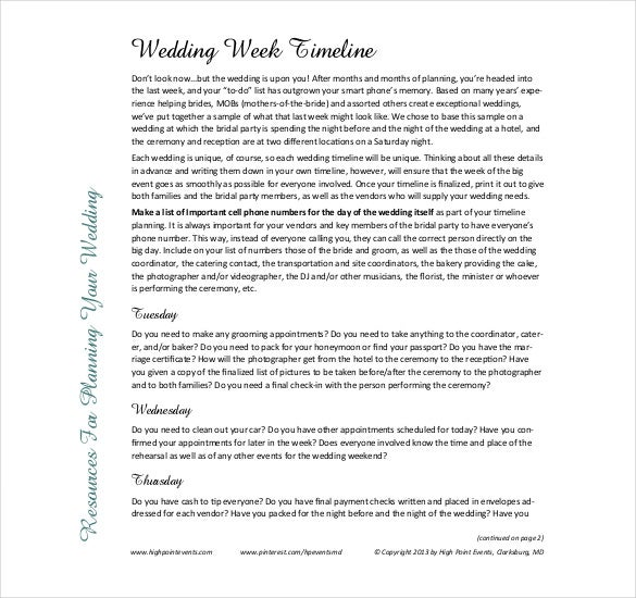 wedding week timeline