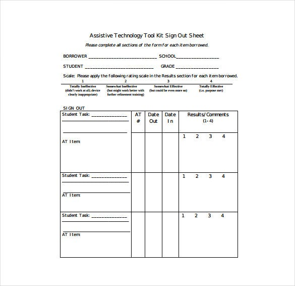 Sign Out Sheet Templates  Free Sample Example Format