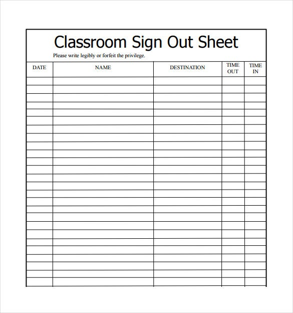 School Sign Out Sheet Classroom Sign Out Sheet Sample Template Free