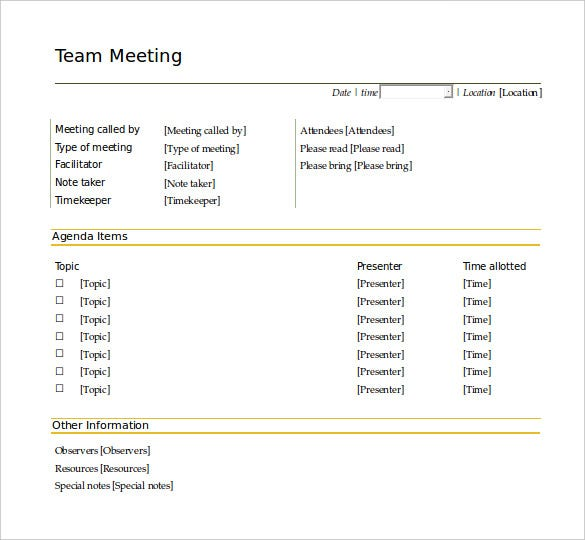 Delightful Agendatemplatepro.com | The Team Meeting Agenda Template Is In Word Format.  There Are Options To Input The Date, Time, And Location Of The Meeting.