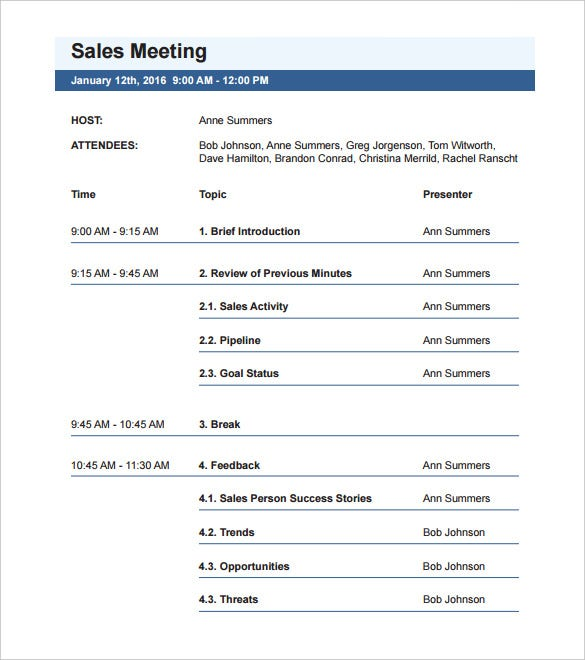 sample of meeting agenda format Template – Agenda Template for a Meeting