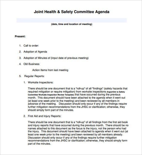 50 meeting agenda templates pdf doc free premium for Health and safety committee meeting agenda template