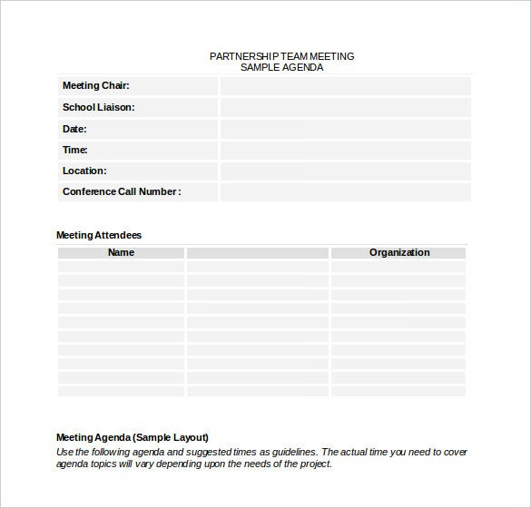 microsoft word agenda template