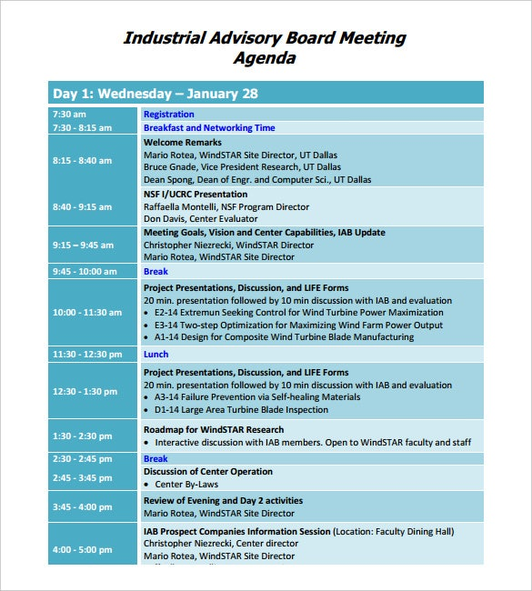 Perfect Industrial Advisory Board Meeting Agenda Template PDF Format  Agenda Design Templates