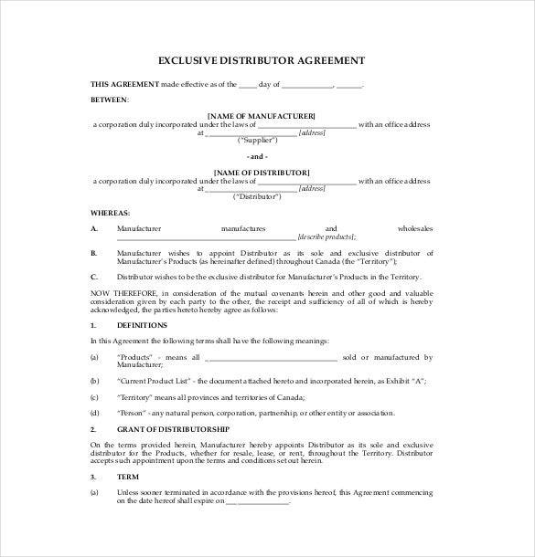 free sample exclusive distributor agreement template