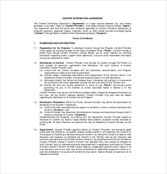 sample content distribution agreement template