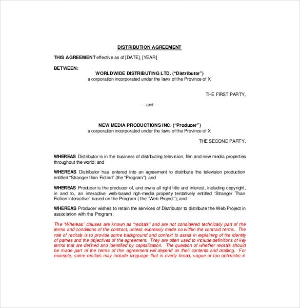 Example Introductory Distributor Agreement Template