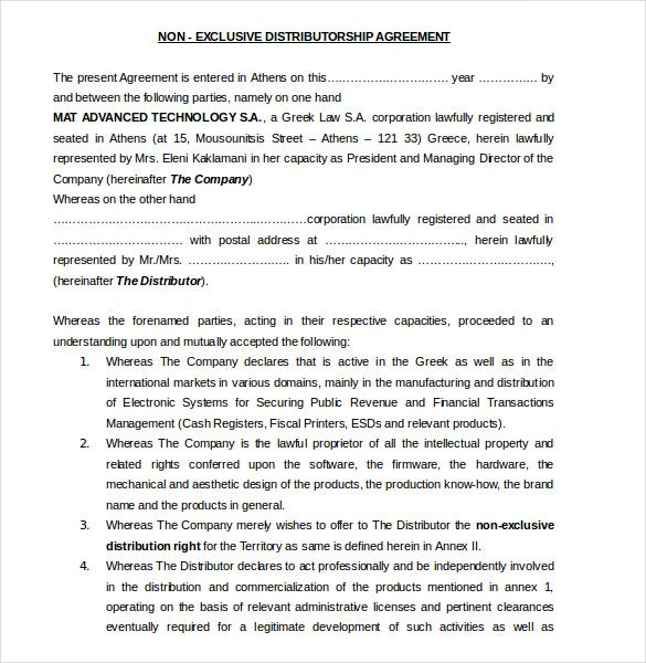 Distribution Agreement Templates Free Sample Example Format - S corporation operating agreement template