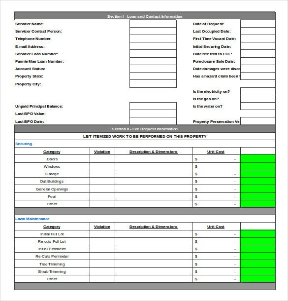 Repair Order Template Excel. Automobile Repair Log Template Sample