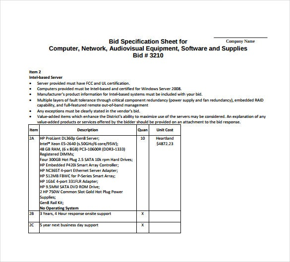 Sample specification sheet template example for Tender specification template