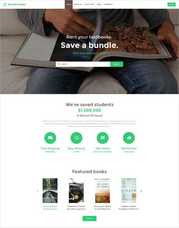 rental book store website template