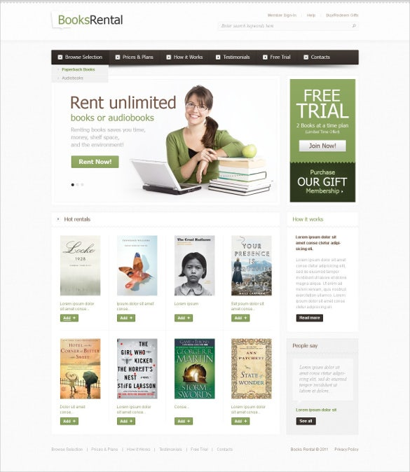 For Rent Websites: 30+ Book Store Website Themes & Templates