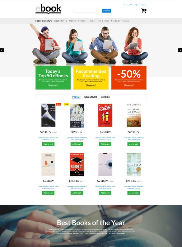 ebook store prestashop website theme