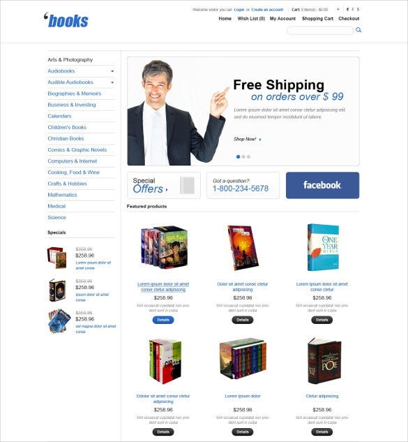 Book Store Website Themes Templates Free Premium Templates - Online book template free
