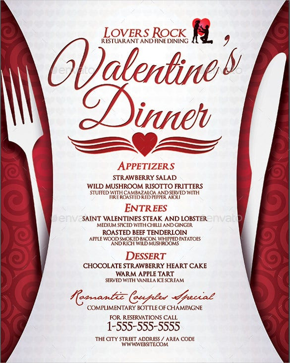 example valentines dinner menu template