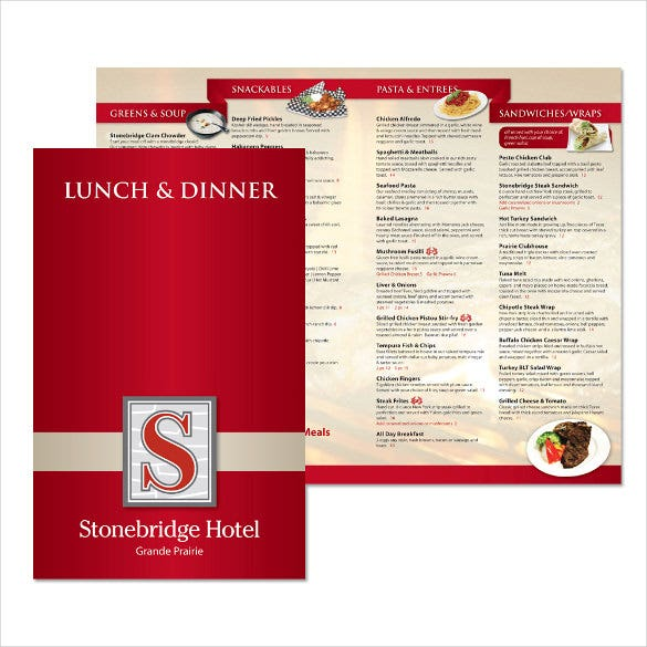 dinner menu for stonebridge hotel template sample download