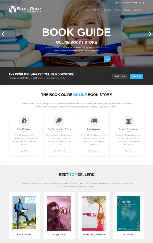 books library ecommerce store website theme