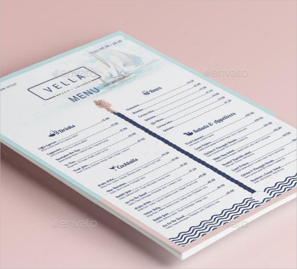 beach bar and dinner or restaurant menu template sample download