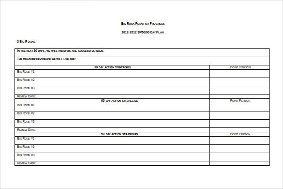 Big Rock Plan 30 60 90 Action Day Example Template