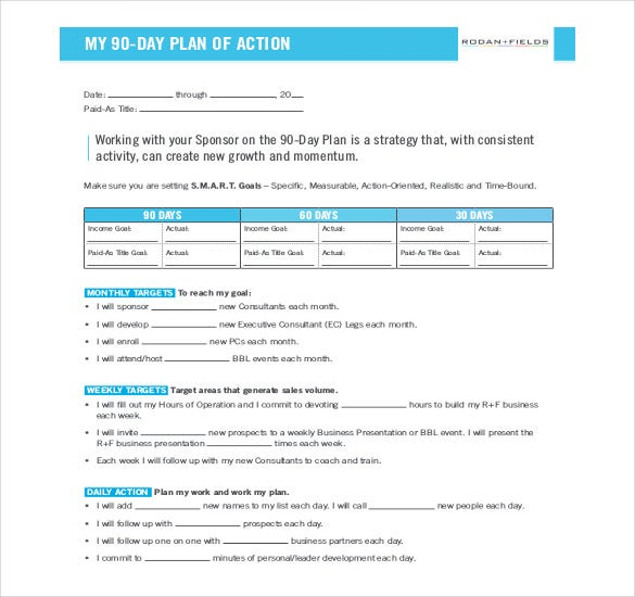 90 day plan of action example template