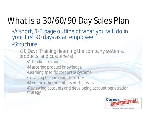30 60 90 day sales plan sample template