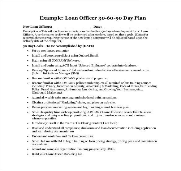 loan officer 30 60 90 day plan free example template