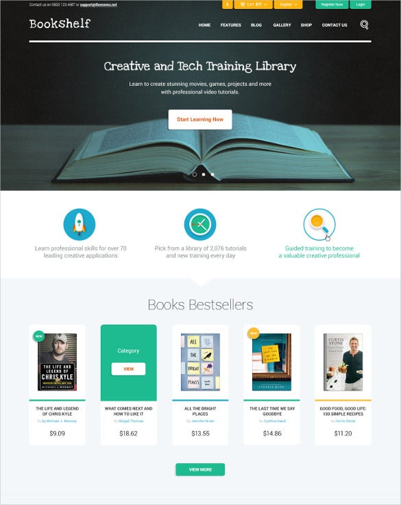 books media online store website template